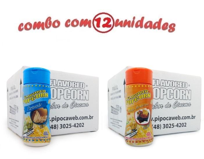 TEMPEROS P/ PIPOCA - Cx 12 FRASCOS - 6 PARMESÃO - 6 MOLHO MEXICANO
