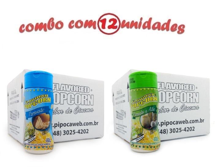 TEMPEROS P/ PIPOCA - Cx 12 FRASCOS - 6 PARMESÃO - 6 PARMESÃO E ALHO