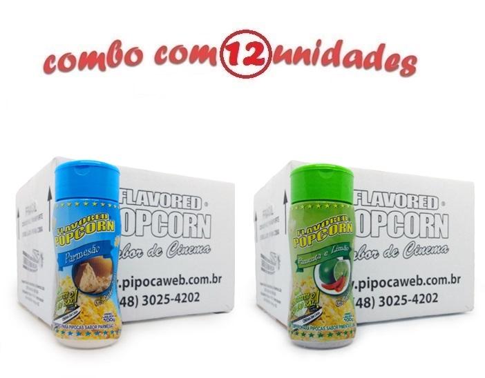 TEMPEROS P/ PIPOCA - Cx 12 FRASCOS - 6 PARMESÃO - 6 PIMENTA E LIMÃO