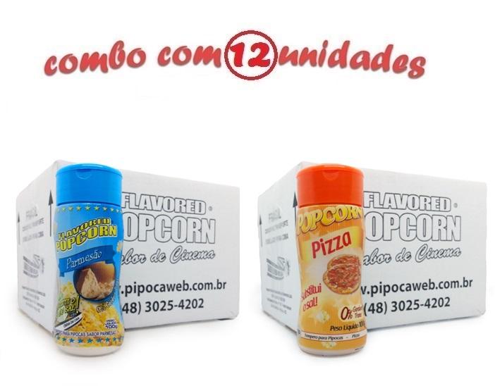 TEMPEROS P/ PIPOCA - Cx 12 FRASCOS - 6 PARMESÃO - 6 PIZZA