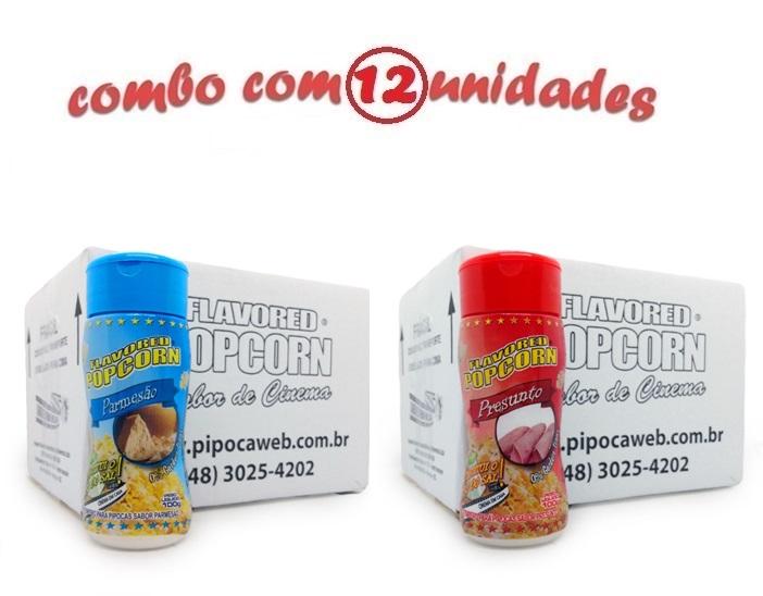 TEMPEROS P/ PIPOCA - Cx 12 FRASCOS - 6 PARMESÃO - 6 PRESUNTO