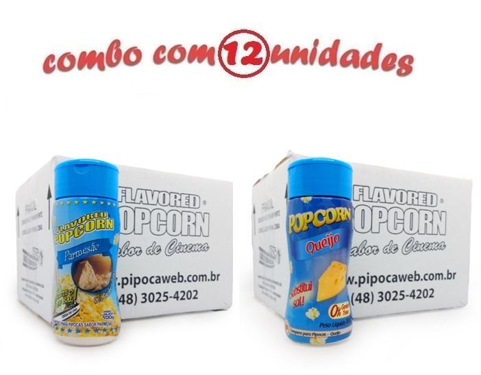 TEMPEROS P/ PIPOCA - Cx 12 FRASCOS - 6 PARMESÃO - 6 QUEIJO