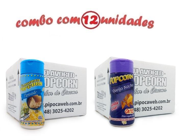 TEMPEROS P/ PIPOCA - Cx 12 FRASCOS - 6 PARMESÃO - 6 QUEIJO NACHO