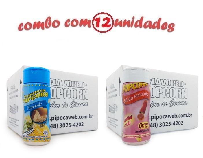 TEMPEROS P/ PIPOCA - Cx 12 FRASCOS - 6 PARMESÃO - 6 SAL DO HIMALAIA