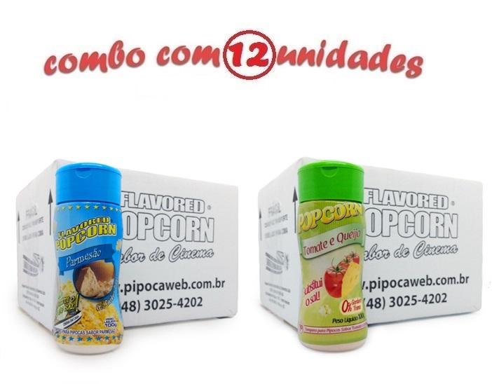 TEMPEROS P/ PIPOCA - Cx 12 FRASCOS - 6 PARMESÃO - 6 TOMATE E QUEIJO