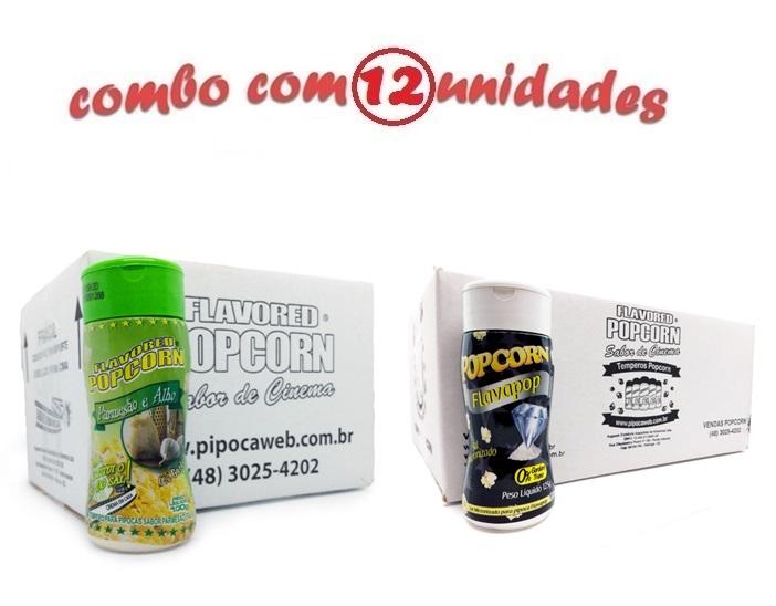 TEMPEROS P/ PIPOCA - Cx 12 FRASCOS - 6 PARMESÃO E ALHO - 6 FLAVAPOP MANTEIGA