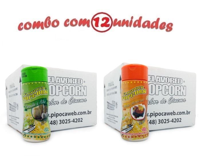 TEMPEROS P/ PIPOCA - Cx 12 FRASCOS - 6 PARMESÃO E ALHO - 6 MOLHO MEXICANO