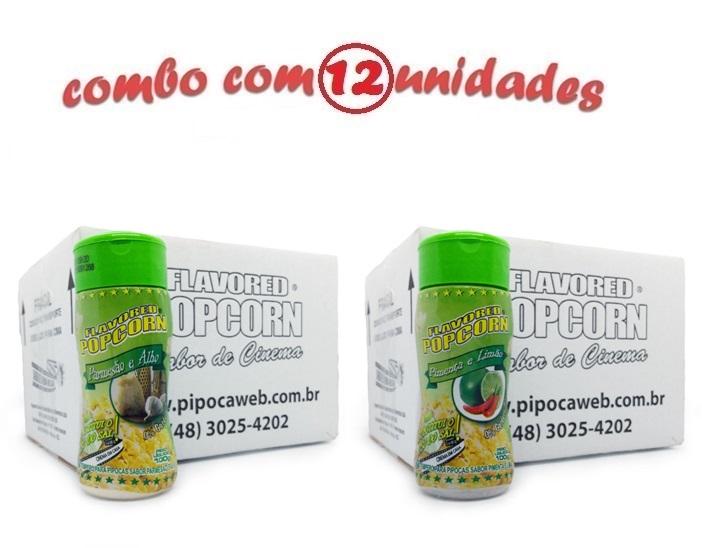TEMPEROS P/ PIPOCA - Cx 12 FRASCOS - 6 PARMESÃO E ALHO - 6 PIMENTA E LIMÃO