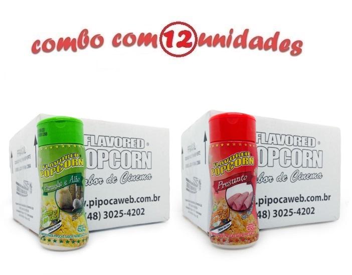 TEMPEROS P/ PIPOCA - Cx 12 FRASCOS - 6 PARMESÃO E ALHO - 6 PRESUNTO