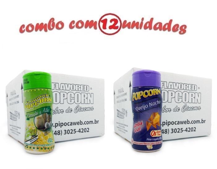 TEMPEROS P/ PIPOCA - Cx 12 FRASCOS - 6 PARMESÃO E ALHO - 6 QUEIJO NACHO