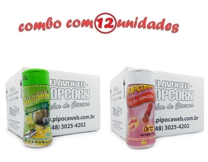 TEMPEROS P/ PIPOCA - Cx 12 FRASCOS - 6 PARMESÃO E ALHO - 6 SAL DO HIMALAIA