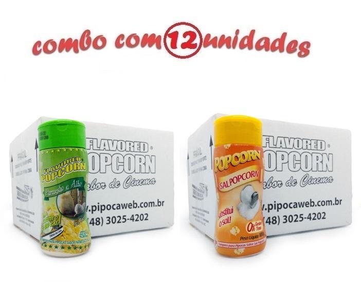 TEMPEROS P/ PIPOCA - Cx 12 FRASCOS - 6 PARMESÃO E ALHO - 6 SAL POPCORN
