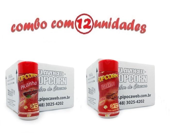 TEMPEROS P/ PIPOCA - Cx 12 FRASCOS - 6 PICANHA - 6 BACON