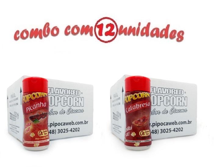 TEMPEROS P/ PIPOCA - Cx 12 FRASCOS - 6 PICANHA - 6 CALABRESA
