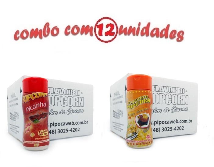 TEMPEROS P/ PIPOCA - Cx 12 FRASCOS - 6 PICANHA - 6 MOLHO MEXICANO