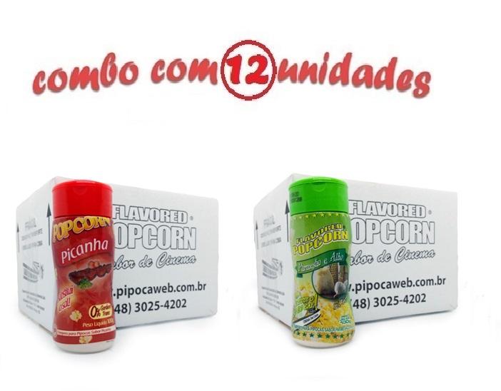 TEMPEROS P/ PIPOCA - Cx 12 FRASCOS - 6 PICANHA - 6 PARMESÃO E ALHO