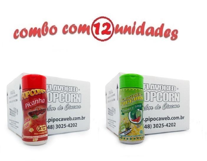 TEMPEROS P/ PIPOCA - Cx 12 FRASCOS - 6 PICANHA - 6 PIMENTA E LIMÃO