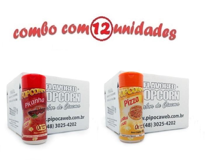 TEMPEROS P/ PIPOCA - Cx 12 FRASCOS - 6 PICANHA - 6 PIZZA