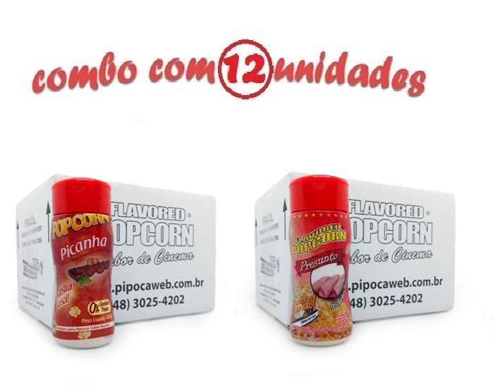 TEMPEROS P/ PIPOCA - Cx 12 FRASCOS - 6 PICANHA - 6 PRESUNTO