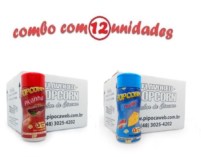 TEMPEROS P/ PIPOCA - Cx 12 FRASCOS - 6 PICANHA - 6 QUEIJO