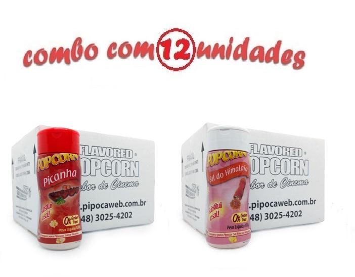 TEMPEROS P/ PIPOCA - Cx 12 FRASCOS - 6 PICANHA - 6 SAL DO HIMALAIA