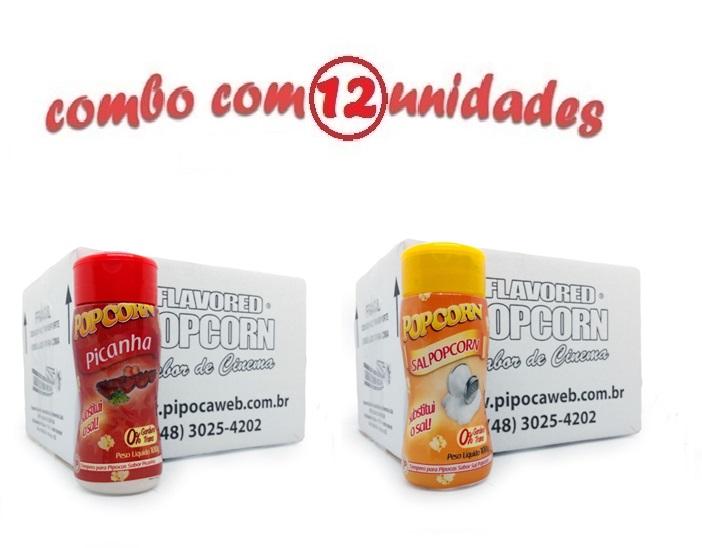 TEMPEROS P/ PIPOCA - Cx 12 FRASCOS - 6 PICANHA - 6 SAL POPCORN