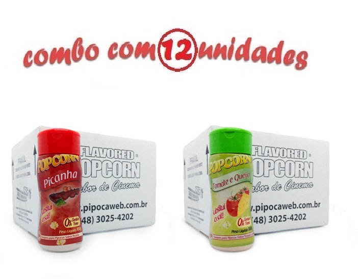 TEMPEROS P/ PIPOCA - Cx 12 FRASCOS - 6 PICANHA - 6 TOMATE E QUEIJO