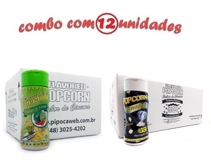 TEMPEROS P/ PIPOCA - Cx 12 FRASCOS - 6 PIMENTA E LIMÃO - 6 FLAVAPOP MANTEIGA