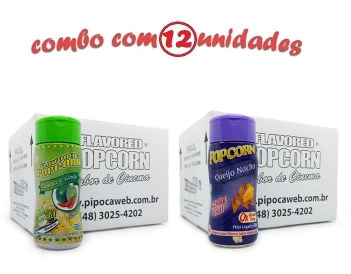 TEMPEROS P/ PIPOCA - Cx 12 FRASCOS - 6 PIMENTA E LIMÃO - 6 QUEIJO NACHO