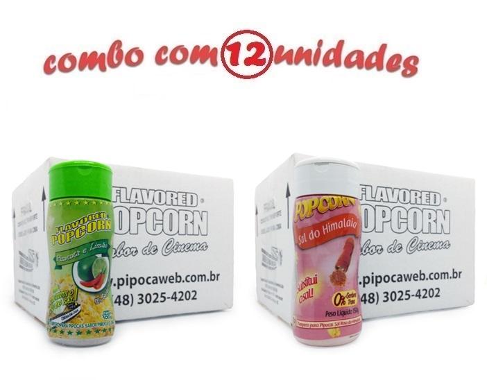 TEMPEROS P/ PIPOCA - Cx 12 FRASCOS - 6 PIMENTA E LIMÃO - 6 SAL DO HIMALAIA