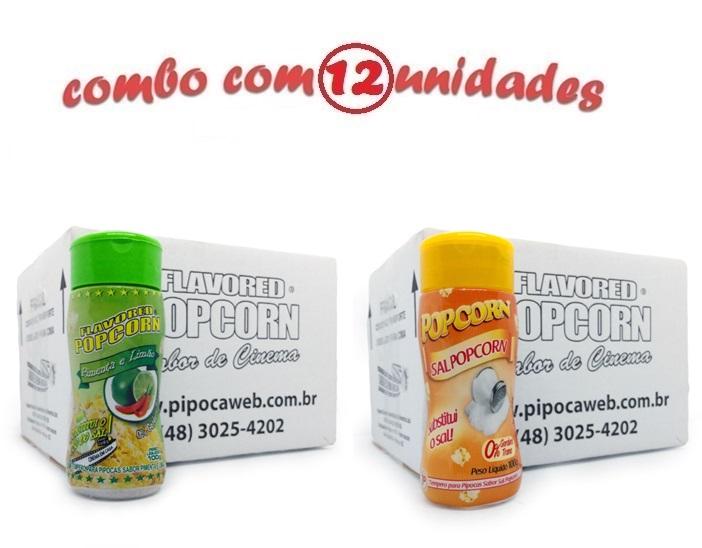 TEMPEROS P/ PIPOCA - Cx 12 FRASCOS - 6 PIMENTA E LIMÃO - 6 SAL POPCORN