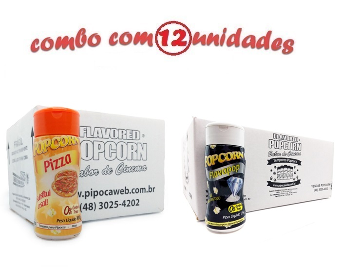 TEMPEROS P/ PIPOCA - Cx 12 FRASCOS - 6 PIZZA - 6 FLAVAPOP MANTEIGA
