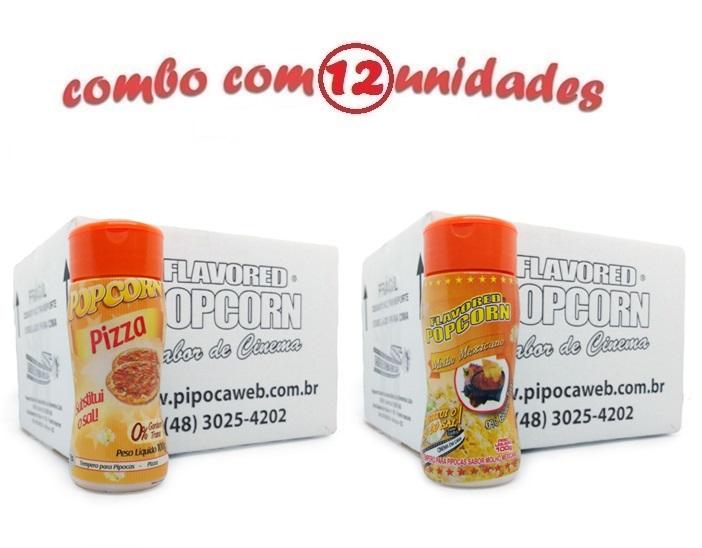 TEMPEROS P/ PIPOCA - Cx 12 FRASCOS - 6 PIZZA - 6 MOLHO MEXICANO