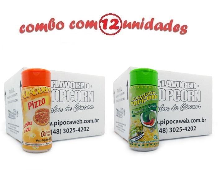 TEMPEROS P/ PIPOCA - Cx 12 FRASCOS - 6 PIZZA - 6 PIMENTA E LIMÃO