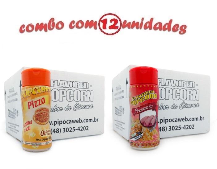 TEMPEROS P/ PIPOCA - Cx 12 FRASCOS - 6 PIZZA - 6 PRESUNTO