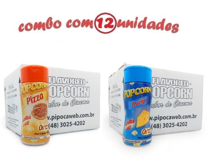 TEMPEROS P/ PIPOCA - Cx 12 FRASCOS - 6 PIZZA - 6 QUEIJO