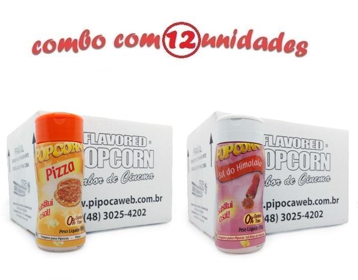 TEMPEROS P/ PIPOCA - Cx 12 FRASCOS - 6 PIZZA - 6 SAL DO HIMALAIA