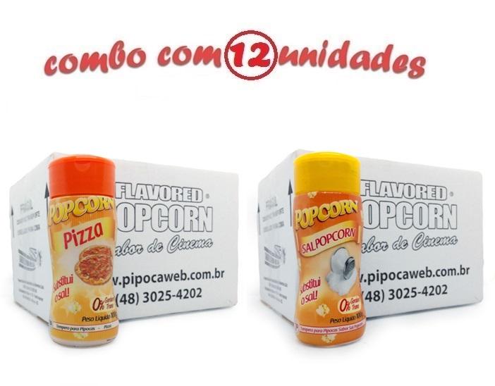 TEMPEROS P/ PIPOCA - Cx 12 FRASCOS - 6 PIZZA - 6 SAL POPCORN