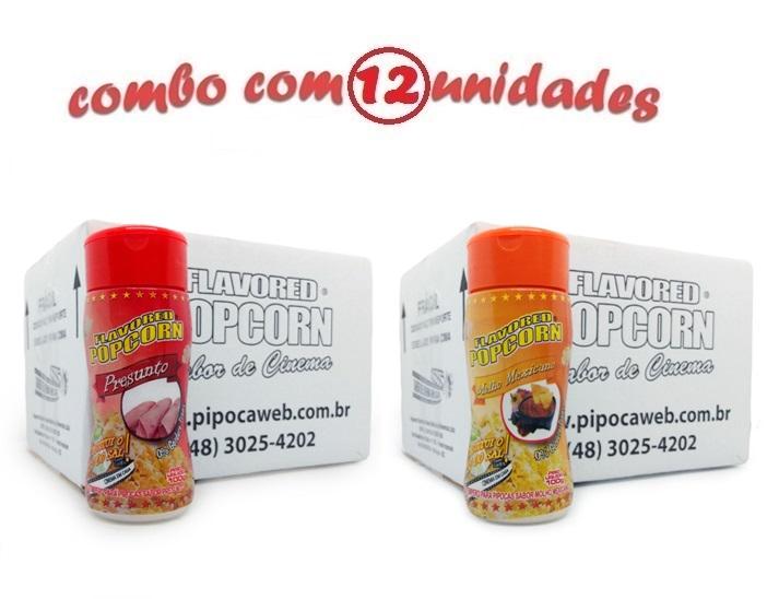 TEMPEROS P/ PIPOCA - Cx 12 FRASCOS - 6 PRESUNTO -  6 MOLHO MEXICANO
