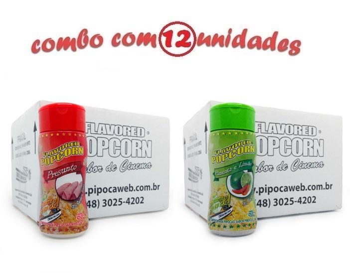 TEMPEROS P/ PIPOCA - Cx 12 FRASCOS - 6 PRESUNTO -  6 PIMENTA E LIMÃO