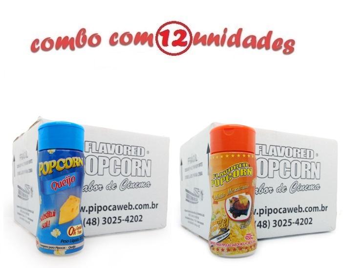 TEMPEROS P/ PIPOCA - Cx 12 FRASCOS - 6 QUEIJO - 6 MOLHO MEXICANO