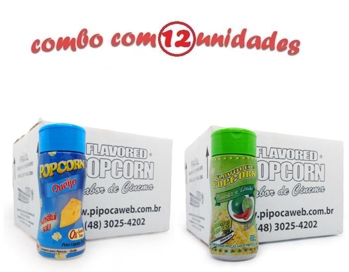 TEMPEROS P/ PIPOCA - Cx 12 FRASCOS - 6 QUEIJO - 6 PIMENTA E LIMÃO