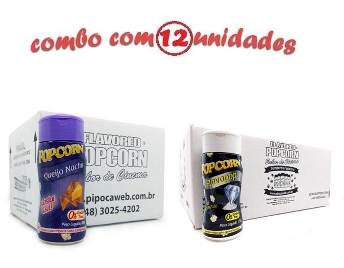 TEMPEROS P/ PIPOCA - Cx 12 FRASCOS - 6 QUEIJO NACHO - 6 FLAVAPOP MANTEIGA