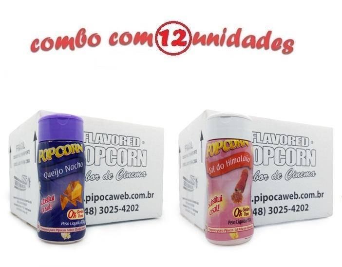 TEMPEROS P/ PIPOCA - Cx 12 FRASCOS - 6 QUEIJO NACHO - 6 SAL DO HIMALAIA
