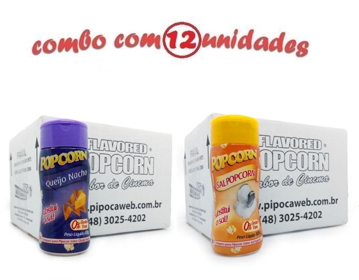 TEMPEROS P/ PIPOCA - Cx 12 FRASCOS - 6 QUEIJO NACHO - 6 SAL POPCORN