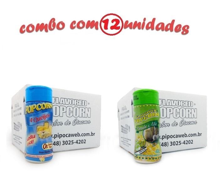 TEMPEROS P/ PIPOCA - Cx 12 FRASCOS - 6 4 QUEIJOS - 6 PARMESÃO E ALHO