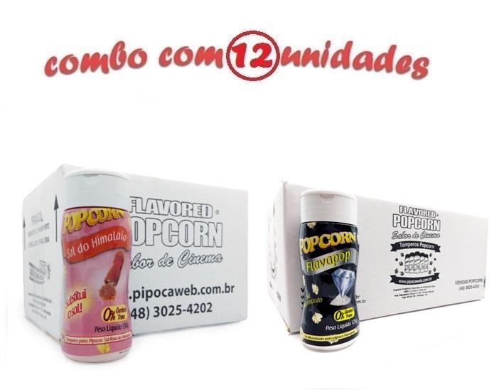 TEMPEROS P/ PIPOCA - Cx 12 FRASCOS - 6 SAL DO HIMALAIA - 6 FLAVAPOP MANTEIGA