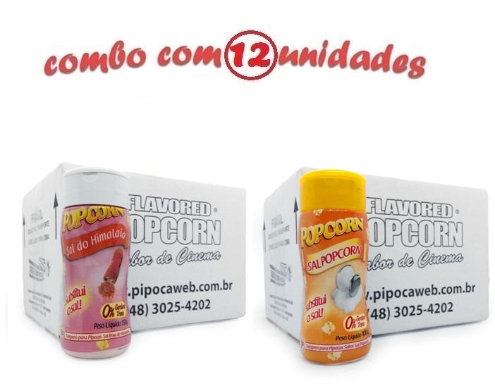 TEMPEROS P/ PIPOCA - Cx 12 FRASCOS - 6 SAL DO HIMALAIA - 6 SAL POPCORN