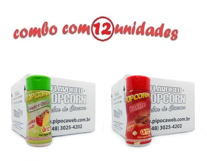 TEMPEROS P/ PIPOCA - Cx 12 FRASCOS - 6 TOMATE E QUEIJO - 6 BACON