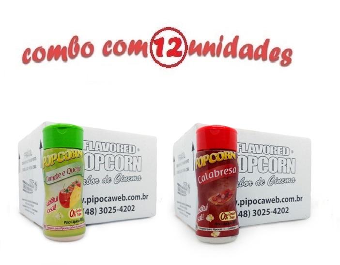 TEMPEROS P/ PIPOCA - Cx 12 FRASCOS - 6 TOMATE E QUEIJO - 6 CALABRESA